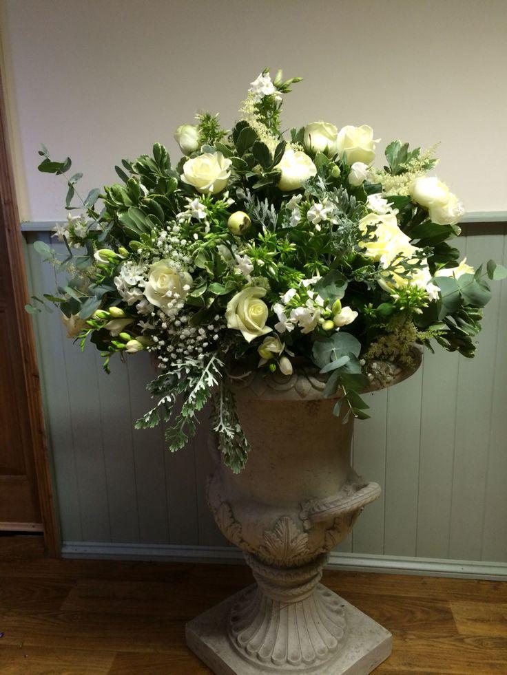 Urn arrangement by www.weddingflowersincornwall.co.uk