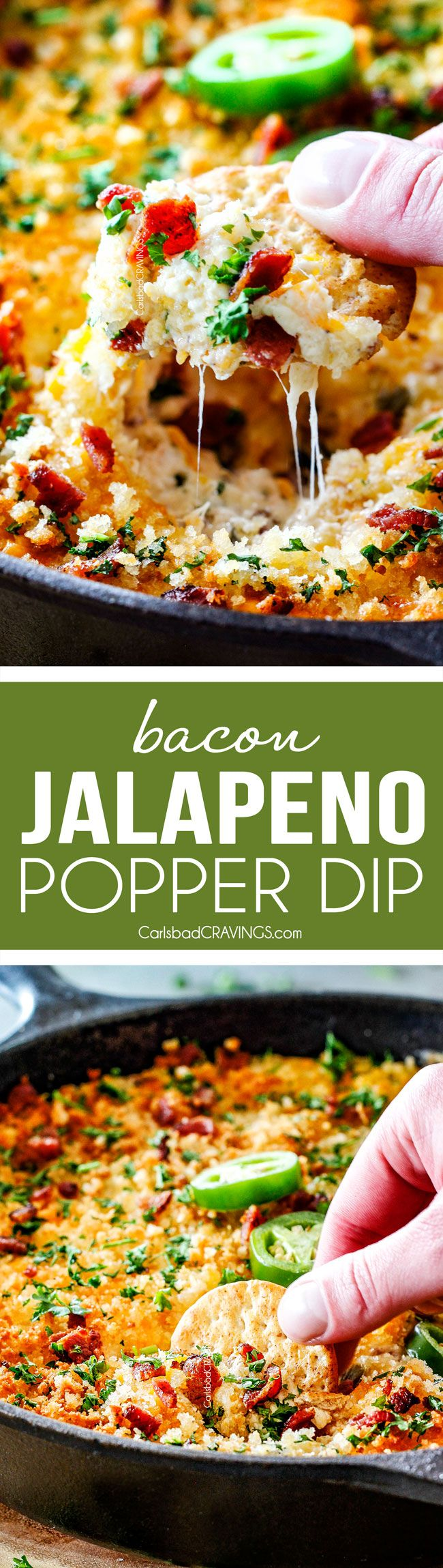 This quick and easy Jalapeno Popper Dip with Bacon tastes like your favorite appetizer in EASY, warm, creamy, cheesy addicting dip form!  It is my go-to party appetizer that everyone LOVES!!!  via @carlsbadcraving