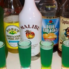 liquid marijuana 1 part Captain Morgan 1 part Coconut Rum 1 part Midori 1 part Blue Curacao Splash of Sweet & Sour Splash of Pineapple Juice