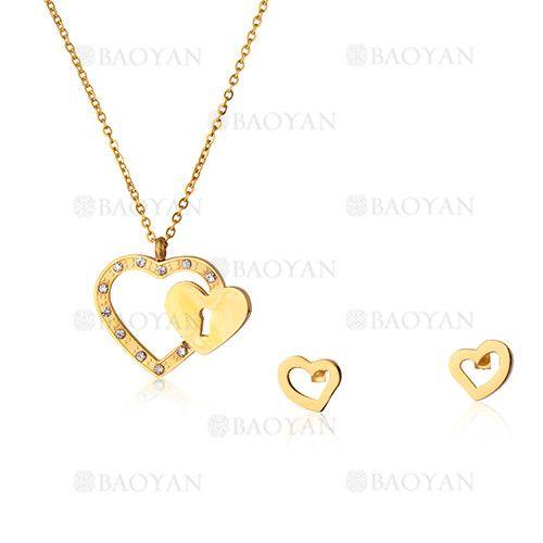 juego collar y aretes de corazon con candado dorado en acero inoxidable para mujer -SSNEG533798