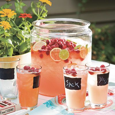 3 1/2 bottles of beer, 1 container frozen raspberry lemonade concentrate (thawed) and 1/2 cup vodka; add 3/4 cup raspberries for garnish and extra zing!