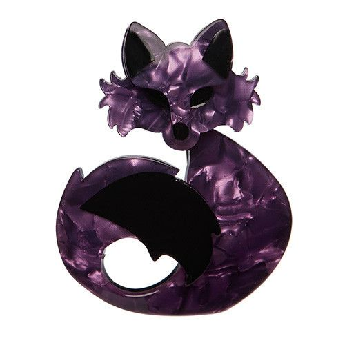 She's so Foxy (Erstwilder Purple Fox Resin Brooch), now available. Hand assembled and hand painted, presented in a branded box.