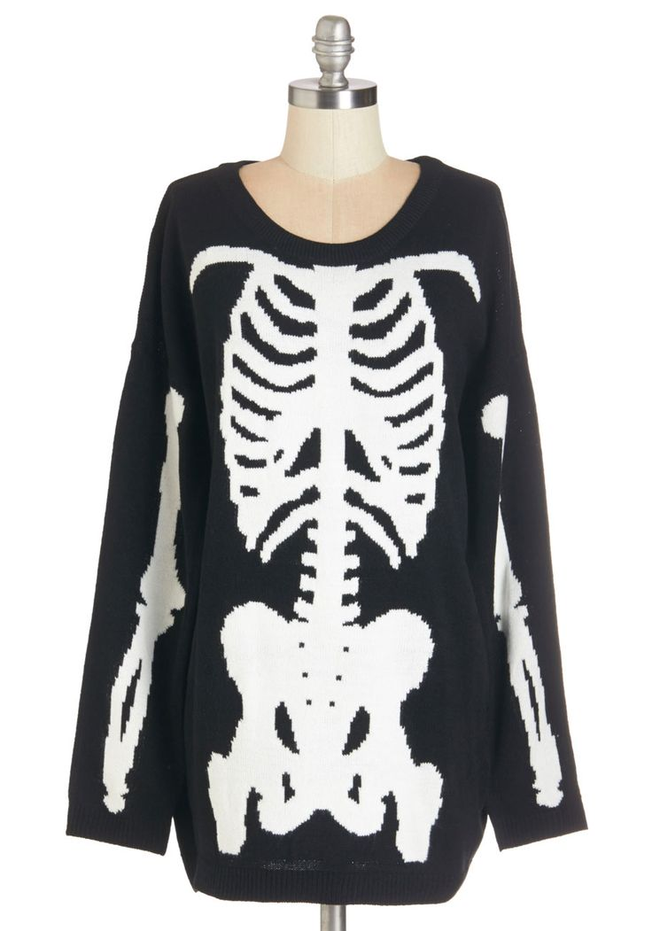 Show and Skeleton Sweater - Knit, WPI, Black, White, Casual, Quirky, Long Sleeve, Fall, Crew, Black, Long Sleeve, Long, Novelty Print, Halloween, Skulls