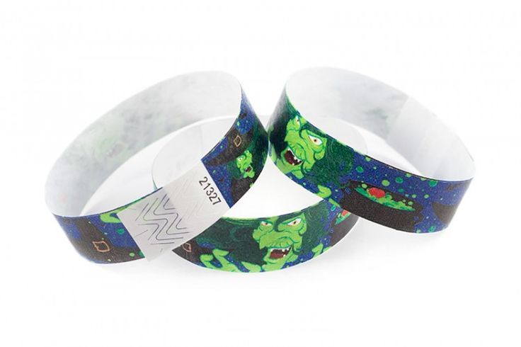 """""""Witches"""" Tyvek® 3/4"""" Pattern Wristbands perfect for Halloween parties or any other special event. *GLOWS UNDER BLACK LIGHT* www.medtechgroup.com #Halloween #Wristband #Bats #Events #Admission #Ticket"""