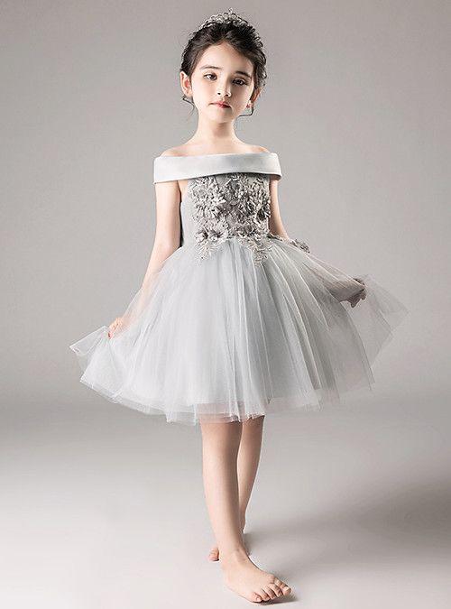 c98685746241 A-Line / Princess Medium Length Flower Girl Dress - Tulle Sleeveless Off  Shoulder with