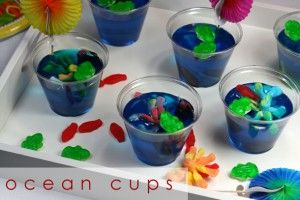 Super cute jello cups!  Would be great for a summer beach party (indoor or outside)