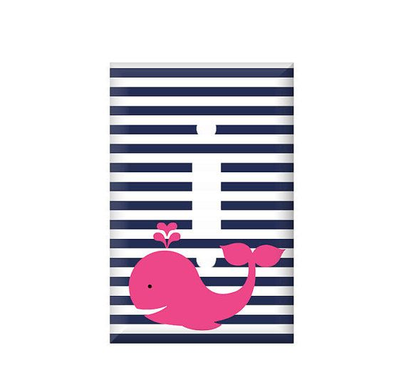 Whale Switchplate Cover - Nautical Navy Stripes - Navy Hot Pink - Nursery Decor - Custom Colors on Etsy, $7.25