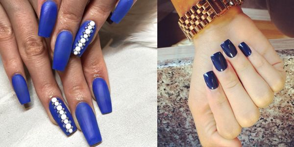 Εντυπωσιακά νύχια σε μπλε αποχρώσεις με τετράγωνο σχήμα!