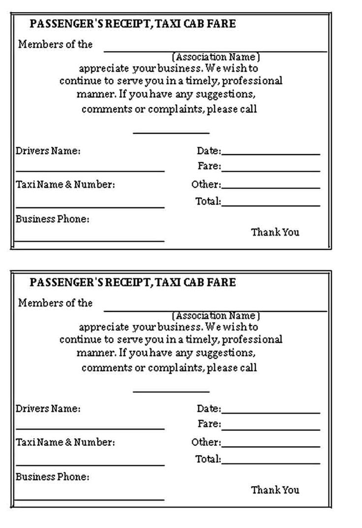 Taxi Receipt Template in 2020 Receipt template, Business