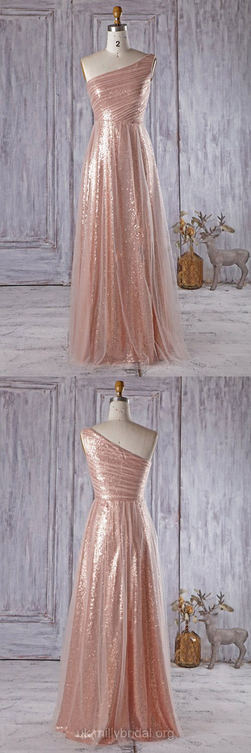 Long Bridesmaid Dresses A-line, One Shoulder Bridesmaid Dress Sequined, Tulle Ruffles Wedding Party Dresses Modest