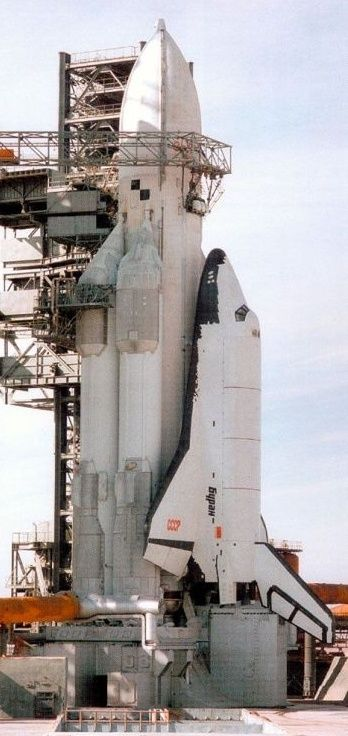 Soviet Space Shuttle Buran on the launch pad in Kazakhstan