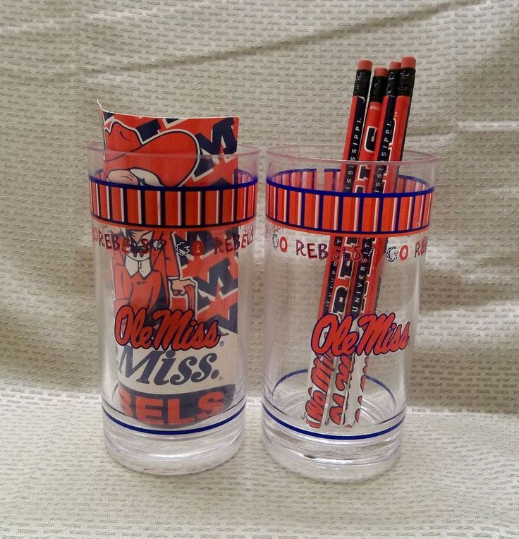 Two Ole Miss Plastic Tumblers with Post Card and Four Pencils #OleMissRebels