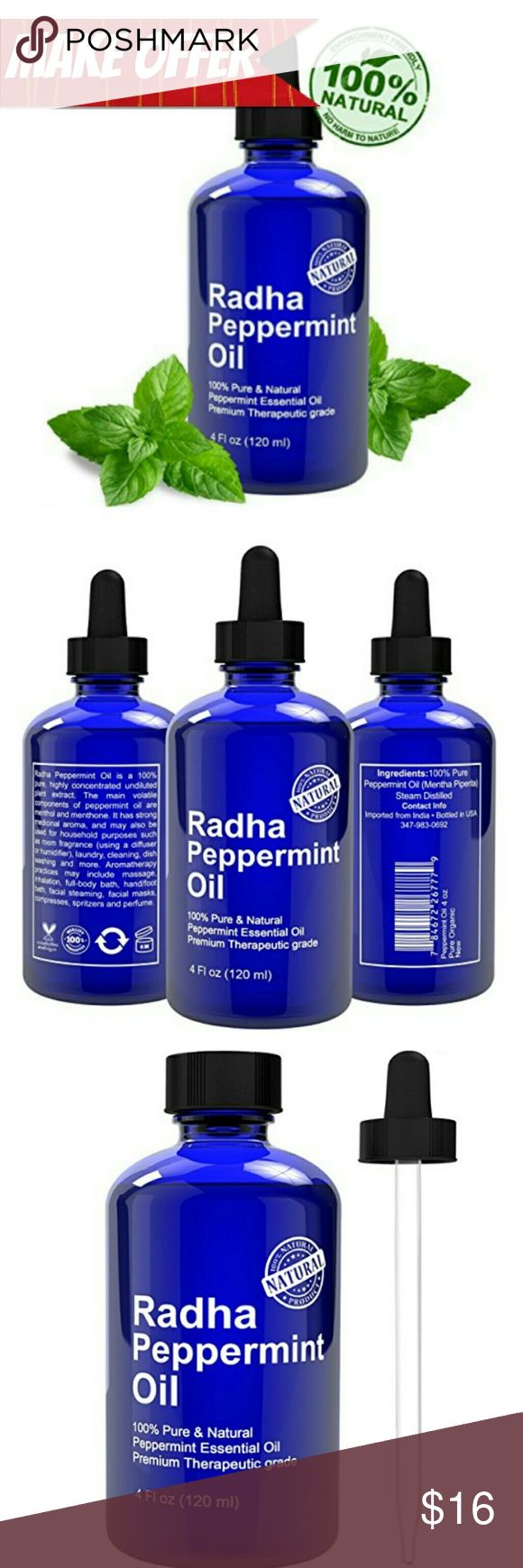 100% Pure Peppermint Oil Essential 100% Pure & Natural Essential Oil Therapeutic Grade- Steam distilled  Great mice and spider repellent - Use it around the house to keep bugs, insects, mice and spiders away Great for Headaches and many more things!  Great for Aromatherapy; Add a few drops of Radha Peppermint Oil into your oil diffuser to refresh the room with the crisp scent of Peppermint Oil Other