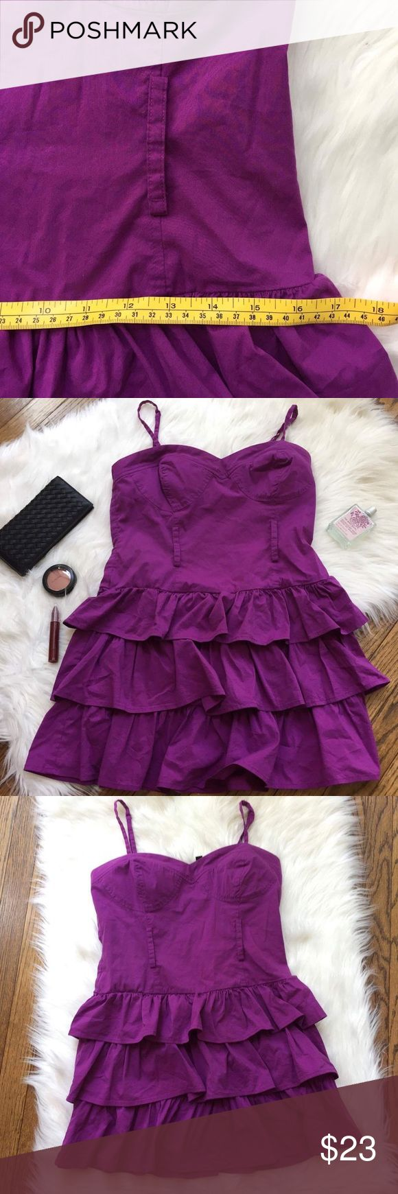 2b BeBe Spaghetti Strap Mini  Ruffle Purple Dress Preowned 2b BeBe Dress Mini Dress Fitted top Ruffle layering at the bottom Lightly padded Adjustable spaghetti strap Back zipper Belt loops (no belt included) Great for going out and to wear at parties Color: purple Gently used condition with no stains or holes Size: medium Please see pictures for fabric content and approximately measurements while flat, unstretched.  Feel free to make an offer or bundle & save!  (B84) 2B Bebe Dresses Mini