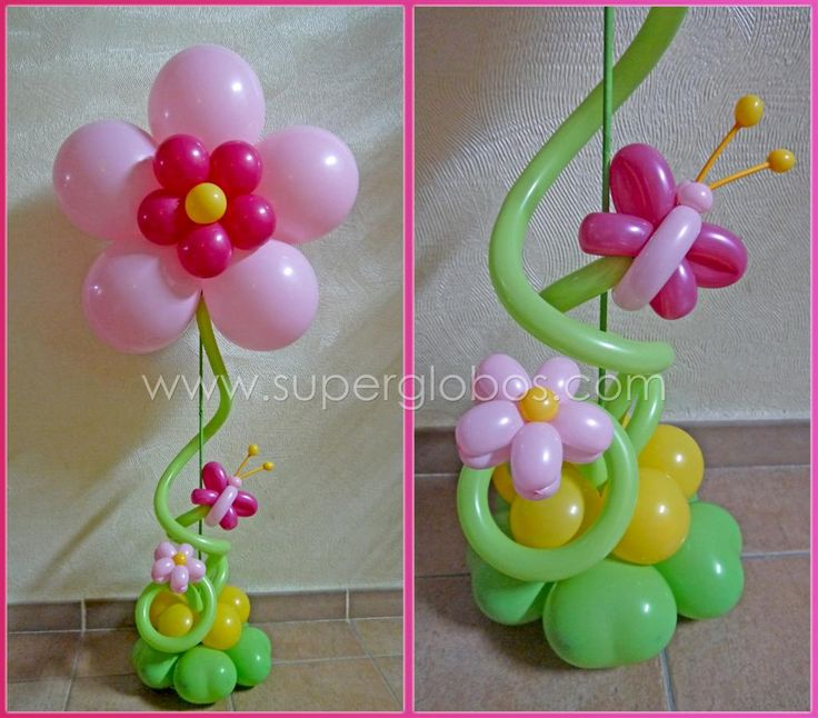 Balloon Flower & Balloon Butterfly topiary centrepiece. #balloons #pretty #centrepiece