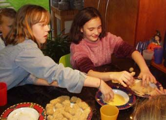 Kids making Dutch kroketten at a birthday party. Recipe follows. Vera would always talk about how good this was.