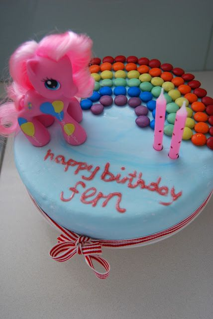 My Little Pony cake. I used skittles instead of smarties and didn't pipe on words because I didn't feel like ruining all my hard work. Even so, it's SO CUTE!