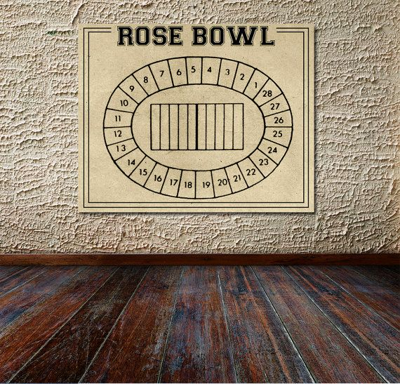 Vintage Print of Rose Bowl Seating Chart Diagram UCLA Bruins Blueprint Football Hockey Sports Photo Matte Canvas Map Drawing Field Game