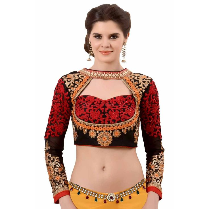 Multicolor  Art Silk Embroidered Ready Made Blouse   #SareeBlouse, #Embroidered