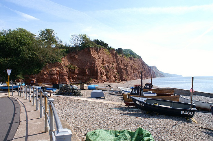The crumbling sandstone cliffs to the east of Sidmouth