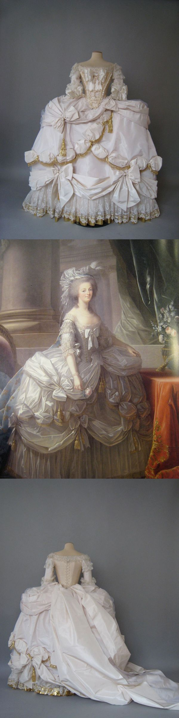 Recreation of Marie Antoinette's court gown (Robe de cour) as painted by Vigee LeBrun in 1779. By Atelier Caraco Canezou for an exhibition in Japan
