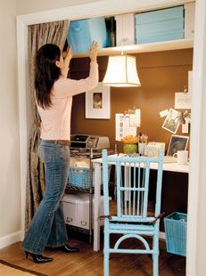 Blue And Tan Home Office In A Closet Idea