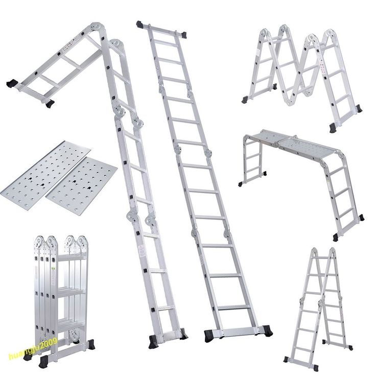 NEW 3.7M Multi Purpose Aluminium Extension Ladder Platform Step With Tool Tray