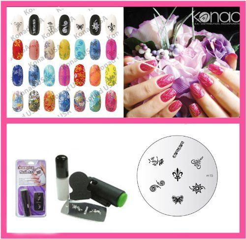 Konad Nail Art Mini Set Polish, Stamper, & Scraper + Image Plate M15 Fleur de Lis + A-Viva Nail File by Konad. $14.99. Get amazing professional manicure results with this easy-to-use system. With Konad Nail Art your nails will always be one of a kind! Konad Stamping Nail Art is a new and innovative nail-imprinting kit that allows you to stamp beautiful pre-designed images on your nails in minutes! Our kits do not hold back on quality, they delivers beautiful delicate i...