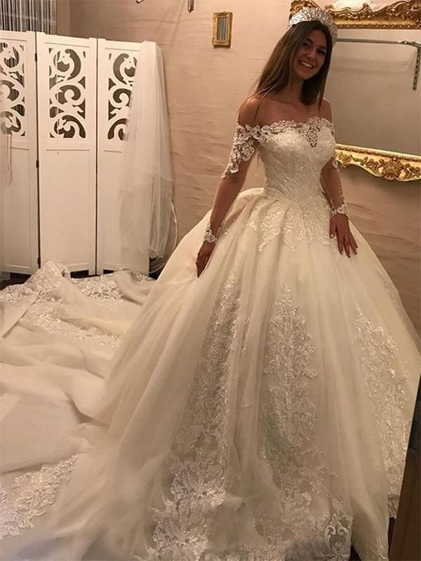 Off Shoulder Long Sleeves Lace Chapel Tail Scoop A Line Wedding