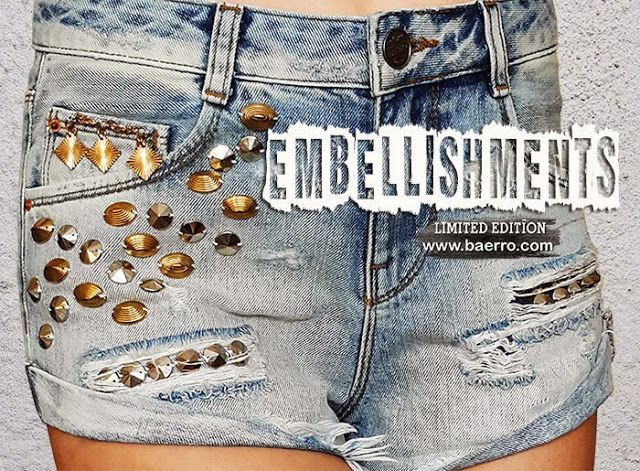 The embellished denim shorts are the summer trend ... #baerro #FashionTrendandDesignStudio