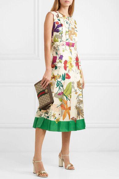505c5f2b7b Gucci - Pleated floral-print silk midi dress