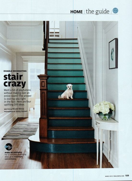 Love the paint effect and color ombre stairs in emerald