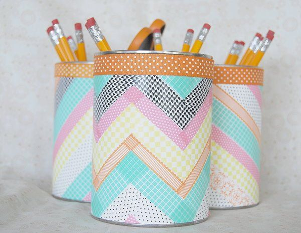 DIY Washi Tape Pencil Holders from old cans. I love the way the tape is applied in a chevron pattern!