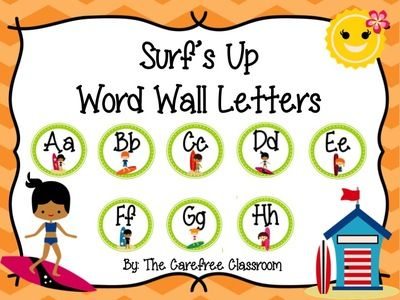 FREE Surfs Up Word Wall Letters from The Carefree Classroom on TeachersNotebook.com -  (15 pages)  - Surf's Up Word Wall Letters