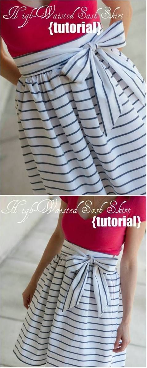 DIY High-Waisted Sash Skirt Step by Step Instructions