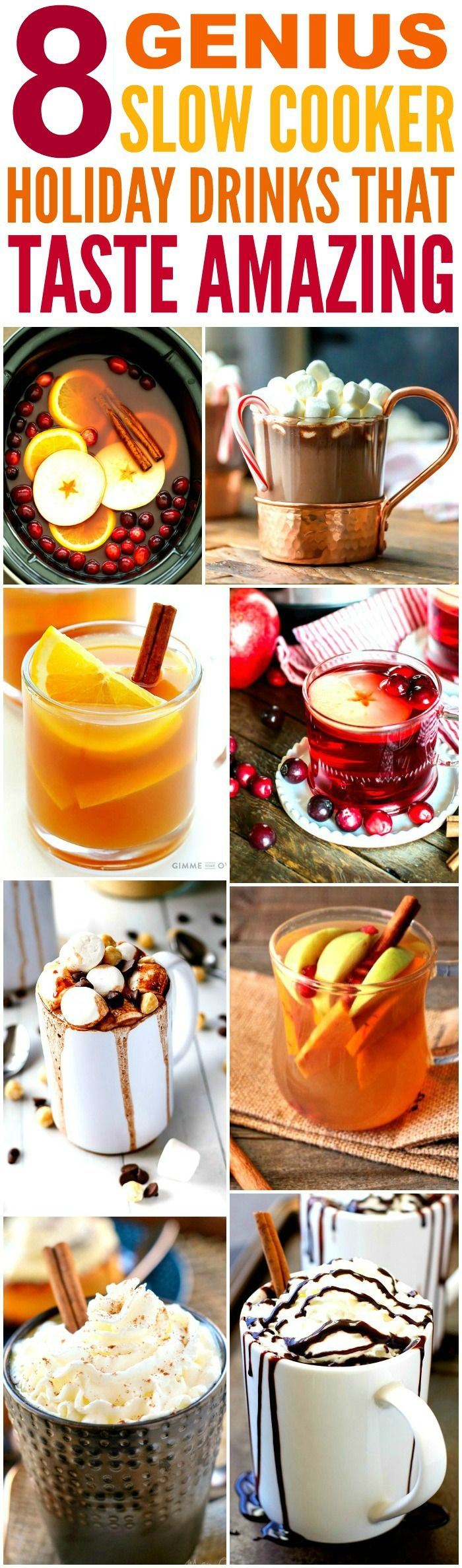 These 8 Genius Slow Cooker Holiday Drinks are THE BEST! I'm so glad I found these AWESOME recipe! Now I have some tasty drinks for the Christmas and New Years! Definitely pinning!