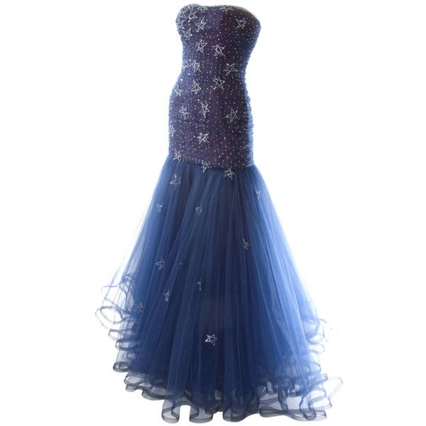 Pre-owned 1986 Murray Arbeid 'Princess Diana' Tulle Gown (5 710 AUD) ❤ liked on Polyvore featuring dresses, gowns, long dresses, vestidos, evening dresses, evening gowns, strapless evening dresses, long blue dress, long strapless dresses and blue evening gown