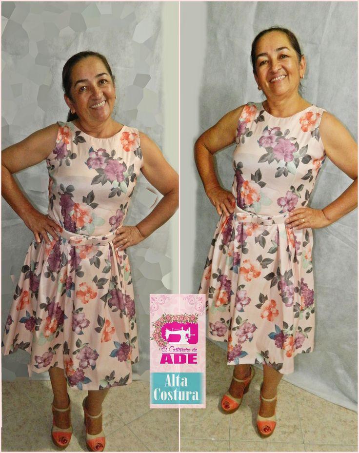 vestido para evento de dia, en tafetan de seda estampado en flores, en tablones, https://elcosturerodeade.wixsite.com/misitio/clientes-felices