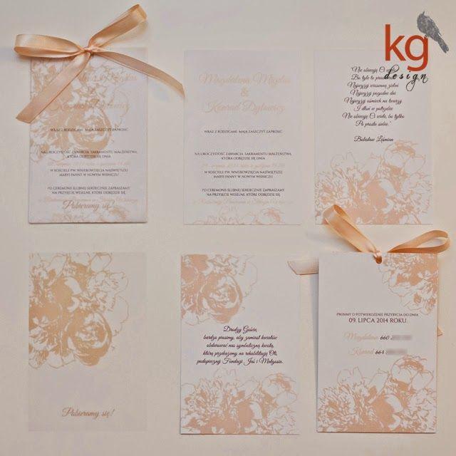 brzoskwiniowy, eleganckie, gipsówka, goździk, kwiaty, piwonie, zaproszenia ślubne