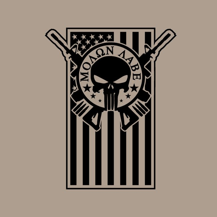 Image of Molon Labe Skull/Flag Combo Decal ...