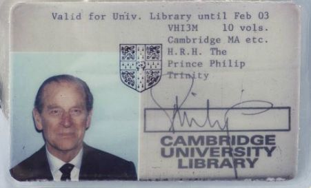 Prince Philip's Cambridge University library card.