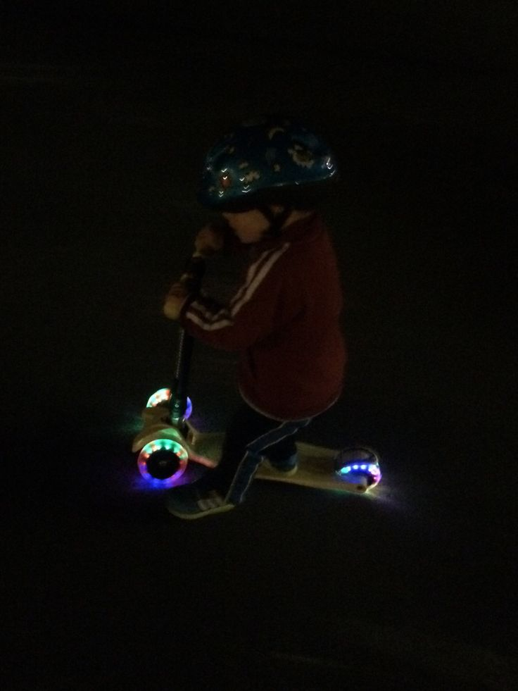 Out for a scooter ride in the dark on s Zoomy Leisure Maxi Scooter