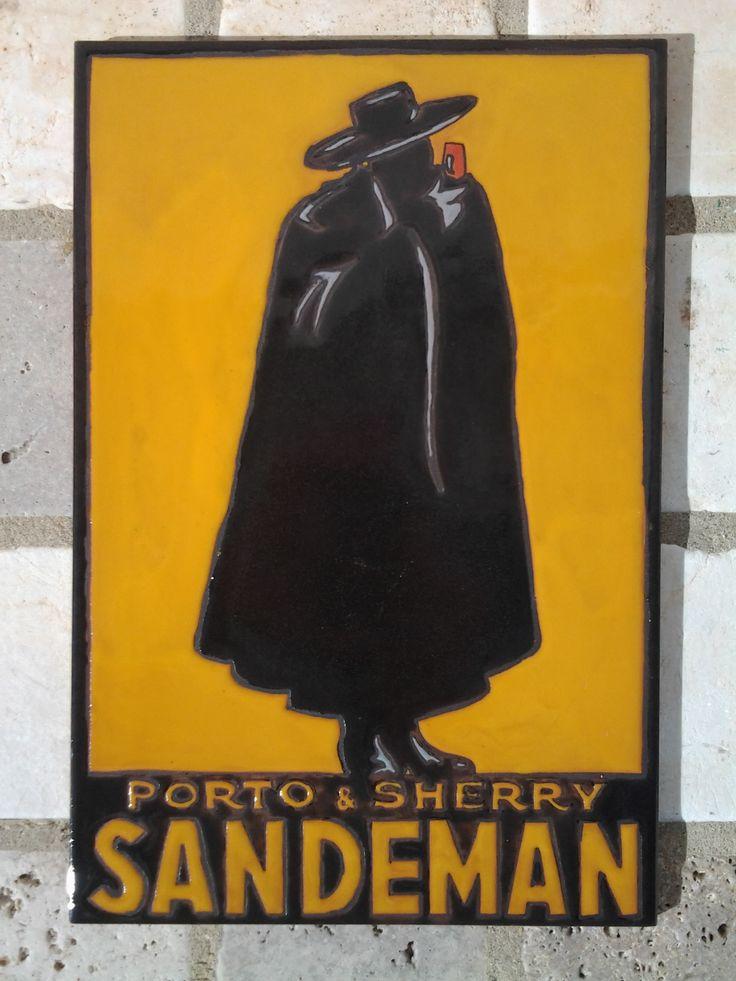 """Reproducción en azuejo de 25x40cm de un cartel publicitario del vino Oporto """"Sandeman"""""""