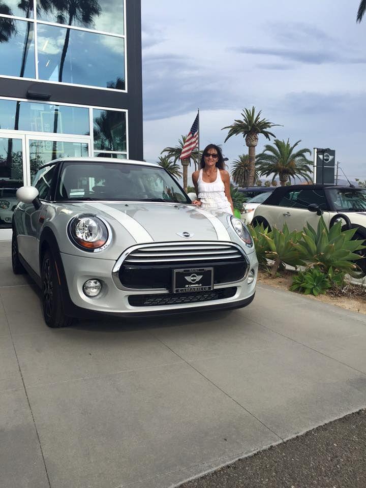 Karen and her brand new 2015 MINI COOPER HARDTOP in White Silver! Motoring Advisor Mike Latkin.