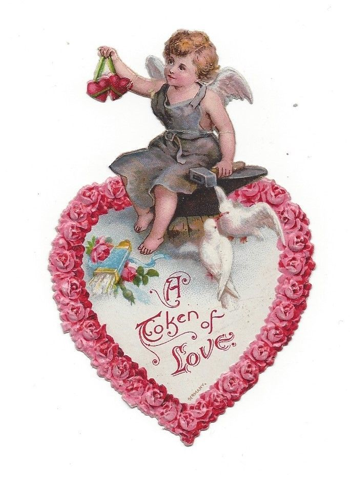 Victorian Die Cut Scrap Valentine Angel