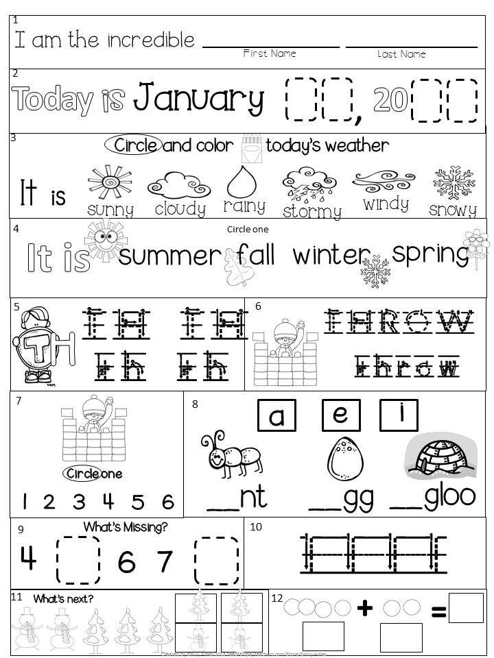 Morning Work Kindergarten January Packet Core