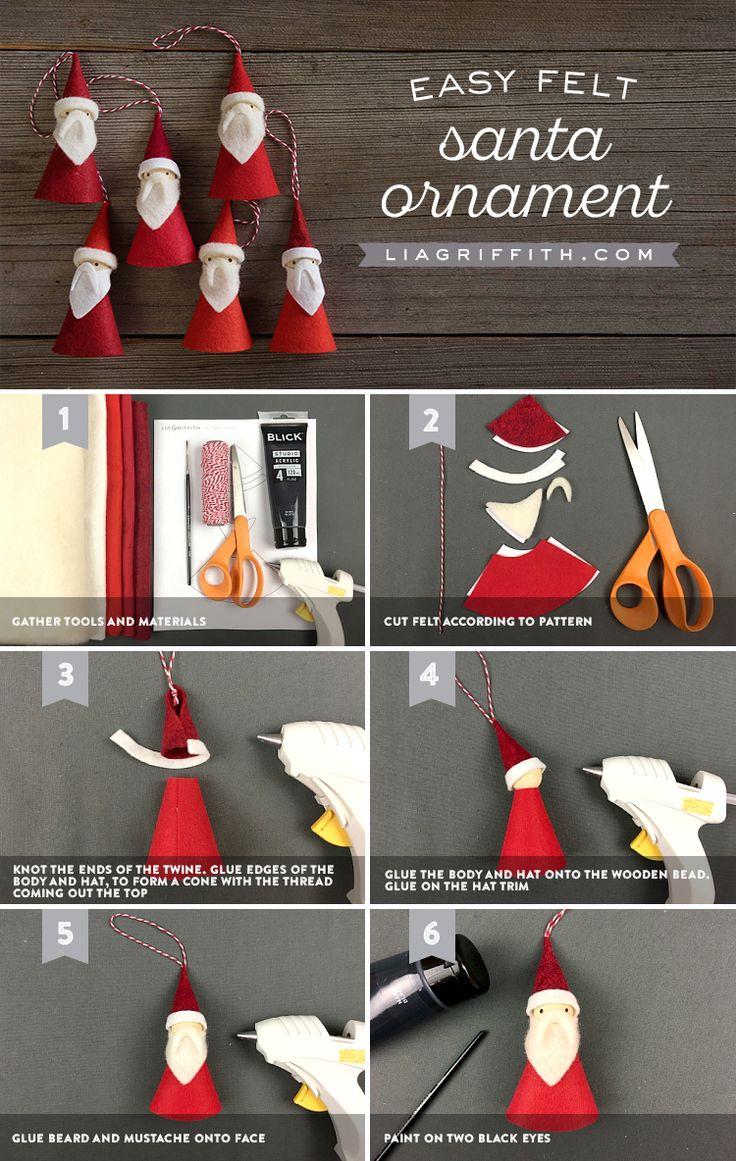 Felt Santa Ornaments // Lia Griffith                                                                                                                                                                                 More