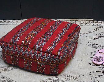 """Marroquí KILIM ALMOHADA FUNDAS de otomano Kilim PUF 24"""" cuadrados PUF otomano almohada almohada marroquí hecha a mano marroquí almohada tribales"""