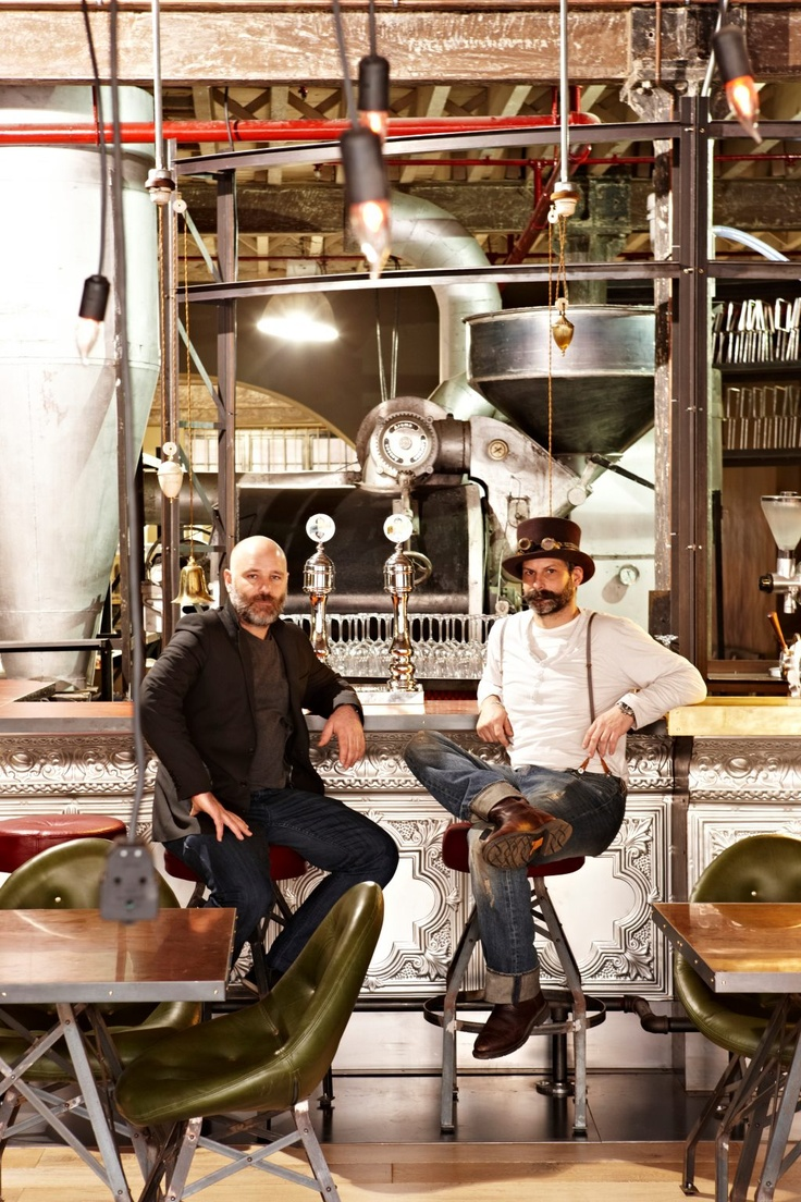 The designer and the coffee geek @Truth HQ; a steampunk coffee shop in Cape Town