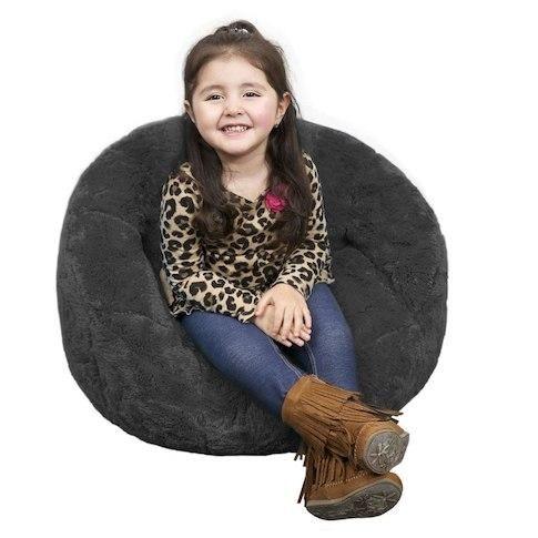 Kids Faux Fur Dark Gray Bean Bag Chair
